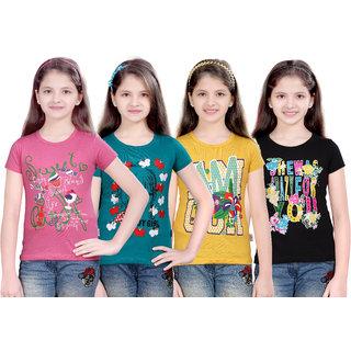 Sinimini Girls Stylish Printed Half Sleeve Tshirt (Pack Of 4)600MPTBGYBLACK