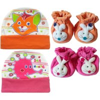 Kerokid Cutee Cat Sea Horse Cotton Caps  B12 face Booties Baby care Combo set