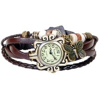 Brown Leather Strap Watch Hand-knitted Leather Watch Women' Watches
