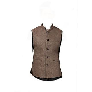 Nehru Jacket (coffee/linen blend) XL-42