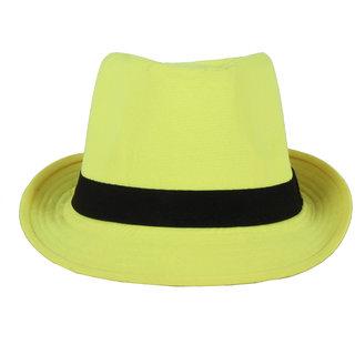 Greenish Yellow Fidora Hat For Men JSMFHCP1240
