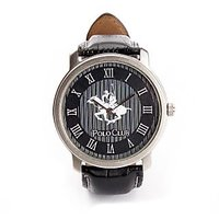 Polo Club Round Dial Black Leather Strap Mens Watch