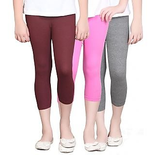 SINIMINI GIRLS TIGHTS CAPRI (PACK OF 3 )-SMTC2005_MAROON_HPINK_AMELANGE