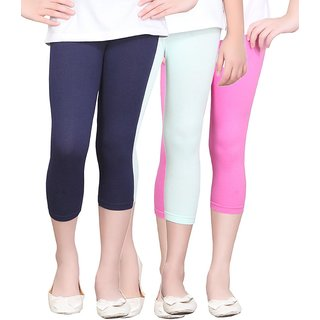 SINIMINI GIRLS TIGHTS CAPRI (PACK OF 3 )-SMTC2005_NAVY_MINT_HPINK