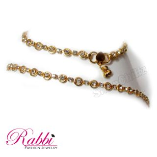 Rabbi Cz Gold Plated Anklet (Payal) An14Gwsd