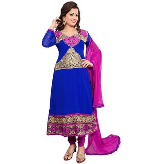 PARISHA Presents Designer Blue Embroidered Anarkali Dress Material