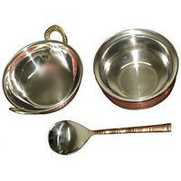 Ideals - 3 Pcs. Copper Serving Set (1 Handi + 1 Kadai + 1 Spoon)