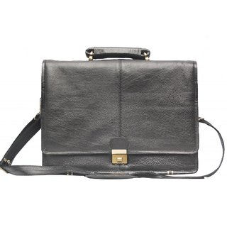 Comfort 16 inch Leather Black Laptop Bag for men and women EL33