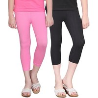 SINIMINI GIRLS TIGHTS CAPRI (PACK OF 2 )-SMTC2005_MPINK_BLACK