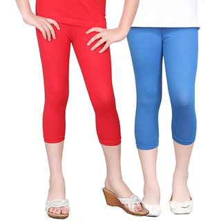 SINIMINI GIRLS TIGHTS CAPRI (PACK OF 2 )-SMTC2005_RED_LRBLUE