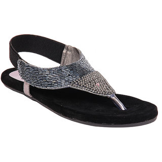 Do Bhai Womens Black Sandals