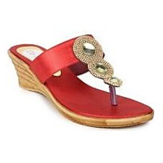 Do Bhai Womens Red and Gold Wedges