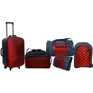 Urban Style Small (Below 60 Cms) Red & Blue Canvas 2 Wheels Trolley (Combo)