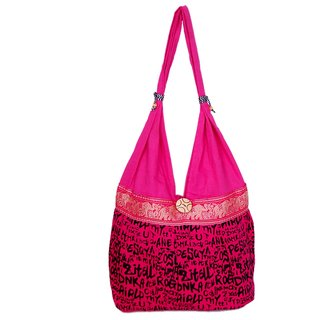 Fashion b bizz Pink Handicraft Jhola Bag