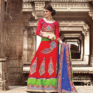Red and Blue Embroidered Saree