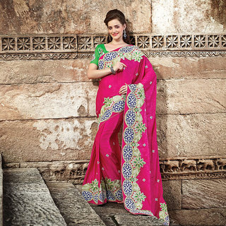 Magenta Embroidered Saree (Design 2)