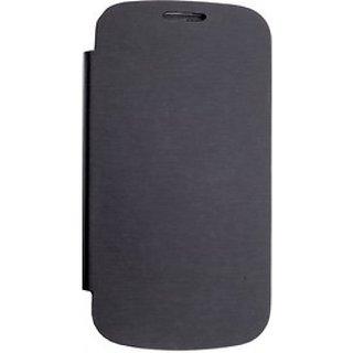 Micromax A77  Flip Cover Black + Screen Guard FREE