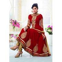 Varanga Suits red georgette anarkali semistitched dressmaterial KFSAU2111