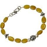 Lemon Yellow Beaded Designer Brass Bracelet 111 205018