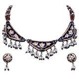 Brown Beautiful Shining Necklace Ear Ring Set 135 205034