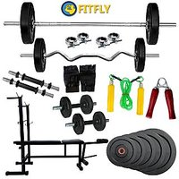 Fitfly New Combo Home Gym Set 6 In1 Bench& 50Kg Weight & 5Ft Plain& 3Ft Curl Rod