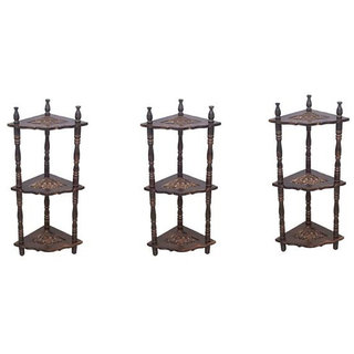 Mini Wooden corner rack side table home dcor carved end table furniture shelve
