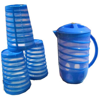 Set of 3 Spiral Glasses with Spiral Jug (1.5 ltr)