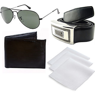 Men'S Combo Of  Avaitors , 3 Handkerchiefs, Wallet & Buckle Belt