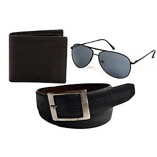 Men's Wallet And Men's Belt (with Free Jon Camy Black Aviator Sunglasses)