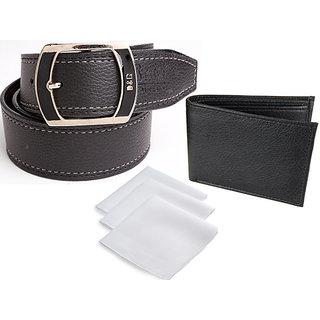 Fashionable Italian Combo For Men Wallet ,Belt & 3 Handkerchief