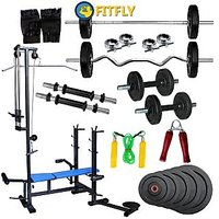Fitfly Combo Home Gym Set 20 In1 Bench& 100Kg Weight & Gym Accessories