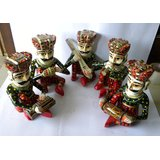 Theshopy Indian Wooden Hand Made Hand Painted Musission 5Pcs Set
