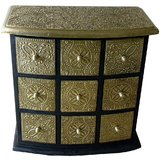 Theshopy Indian Wooden Hand Made Brass Ftd 9 Drawer Jewelry Box