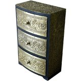 Theshopy Indian Wooden Hand Made Brass Ftd 3 Drawer Round Jewelry Box