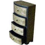 Theshopy Indian Wooden Hand Made Brass Ftd 4 Drawer Round Jewelry Box