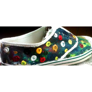 Hand Painted Canvas Shoes With Oil Color
