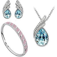 Ocean Blue Austrian Crystal Necklace Set Combo with Crystal Earings and crystal