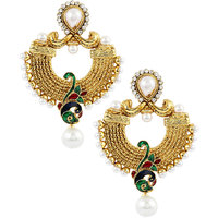 Kriaa Peacock Style Green Earrings - 1303710