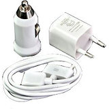 3 In 1 Usb Wall + Car Charger Adapter + Data Sync Cable