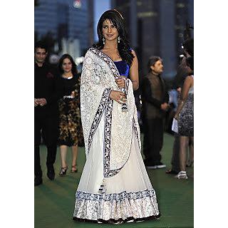 high quality bollwood priyanka chopra white saree cum lehenga