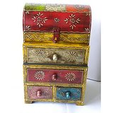 Theshopy Indian Wooden Hand Made Hand Painted H/R 4 Drawer Box