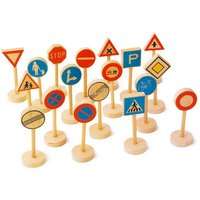 Wooden 21 Set Local Road Safety & Traffic Signs - JW901
