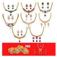Shital Jewellery Gold Plated GoldenSilver Combo Of 8 Necklace Sets3 Pearl Mala  1 Pair Of Bangles For Women