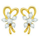 Avsar Real Gold And Diamond Fancy Ribbon Earring Ave050