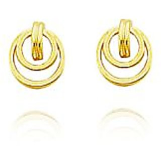 Au 18K Pure Yellow Gold Two Round Earring