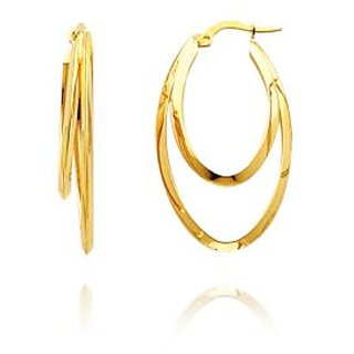 Au 18k Pure Yellow Gold Dangle Style Two Round Earring