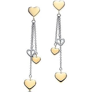 Au 18K Pure Yellow Gold Dangling Heart Earring