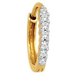 Avsar Real Gold And Diamond 7 Stone Hoop Nosering Avno008
