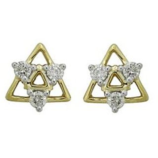 Star Shape Earrings Studded With Real Gold And Diamonds Bge029)
