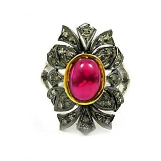 2.58 Ct Real Diamond And Created Ruby Victorian Ring